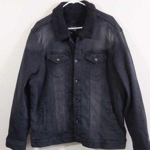 Rude Black Denim Unisex Sherpa Lined Jacket 2X